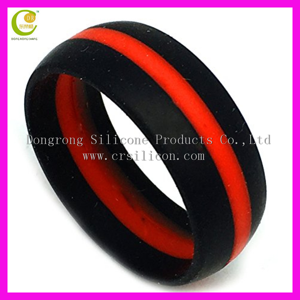 Thin Red Line Rubber Wedding Ring Wedding Rings
