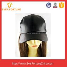 Fashionable PU Leather Baseball Cap with Wig
