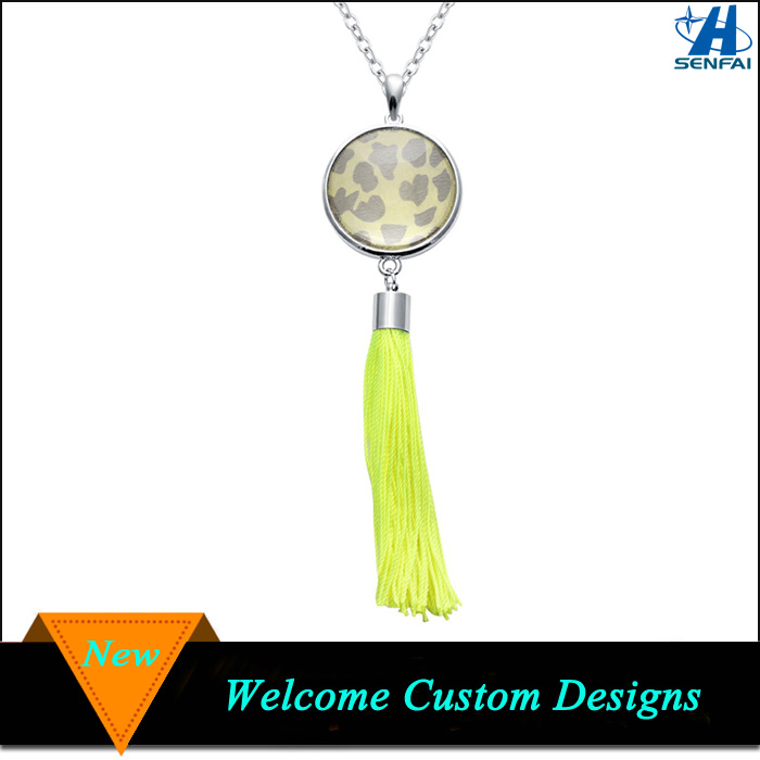 Handmade Neon Yellow Neon Tassel Necklace