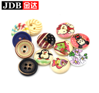 2holes custom cute cartoon characters wooden buttons for kids clothing