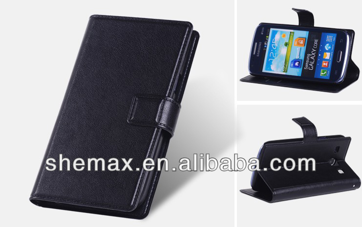 High class custom stand wallet card-slot case for samsung galaxy core i8260 i8262