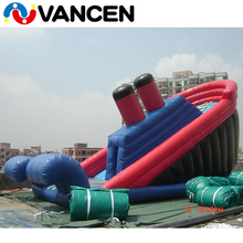 2018 summer cheap price customized size kids outdoor games party rental use commercial gaint inflatable titanic slide for sale