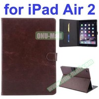 Crazy Horse Texture for iPad Air 2 PU Leather Printing Case with Stand