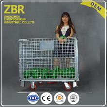 Returnable Storage Wire Baskets Mesh Cage Steel Box Stacking With 4 Layers for Metal Tools