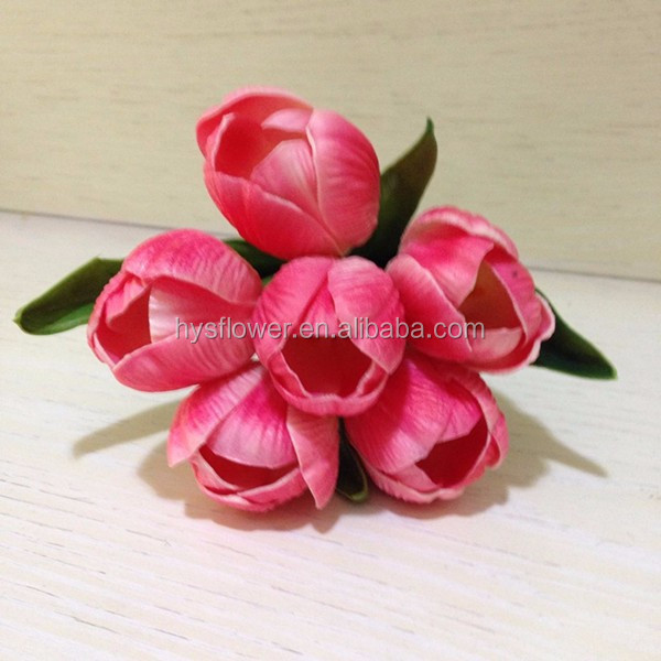 High quality artificial decorative tulip bouquet pu tulip flower with 6 head