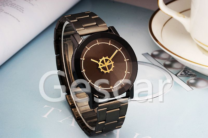 VK-805 new black belt couple alloy wrist watch