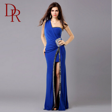 D&R ladies formal dress patterns one shoulder crystal side slit evening dress red backless crepe lady frocks for adults