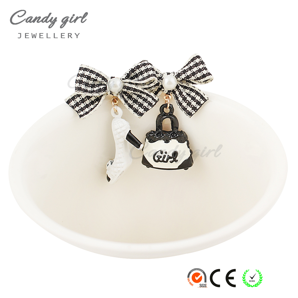 Candygirl brand wholesale new fashion black and white cute Bags Heels Shoe asymmetric earrings