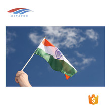 customized printing country flag cheap india hand flag with pole