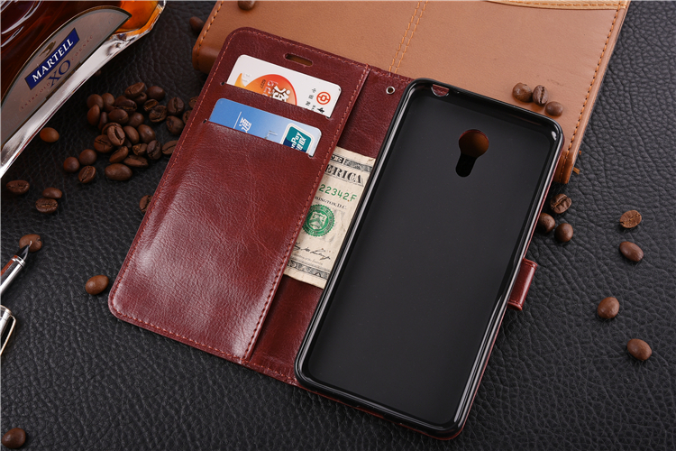 TPU soft inner shell Flip Leather cover with card slot Mobile Phone case for Meizu M Note 3