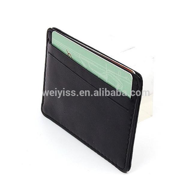Leather Card Case holder Wallet Slim Super Thin 5 Card Slots Front Pocket