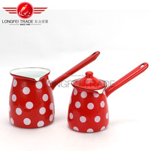 Red Round Handle Induction Enamel Turkish Coffee Pot