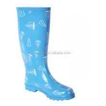women blue print knee high rubber boots long waterproof gum boots