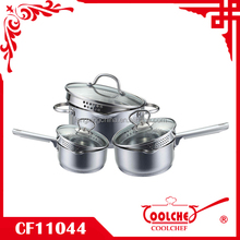 6pcs Stainless Steel Cookware pot with spout and strainer lid