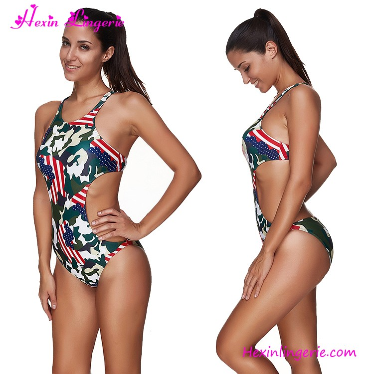 Wholesale High Quality Sexy One Piece Swimwear American Flag Bikini