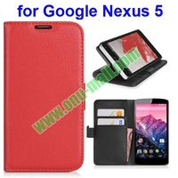 Lichee Pattern Case Cover For Google Nexus 5 PU Leather Case with Holder