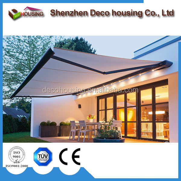 Manufacturer customized high grade acrylic fabric balcony retractable arm awning for house