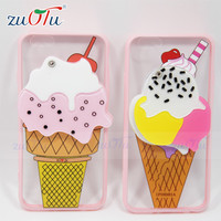 2016 cute ice cream design soft tpu phone case with mirror