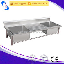 Singapore Stainless Steel Kitchen Sink Wok Table/Double Bowl Kitchen Sink Bench shandong Factory