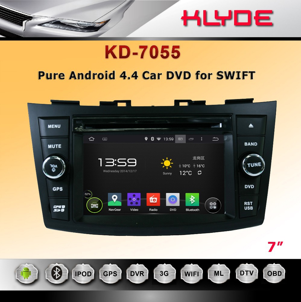 hot 7 inch HD 2 din android 4.4.4 car dvd player for SWIFT 2011-2012
