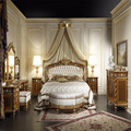 Gorgeous Classic Walnut Carved Canopy Bed With Gold Leaf and Veneer, European Furniture For Bedroom