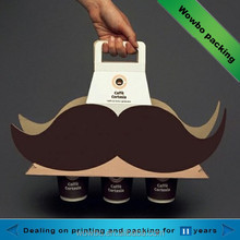 creative paper beard shape cup coffee carrier