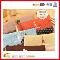 Wave point of cotton cloth pen holders jute pencil case in filed design for promotion gift