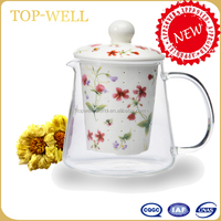 Hot sell new style fancy glass tea cup ,drink cup with infuser made in china