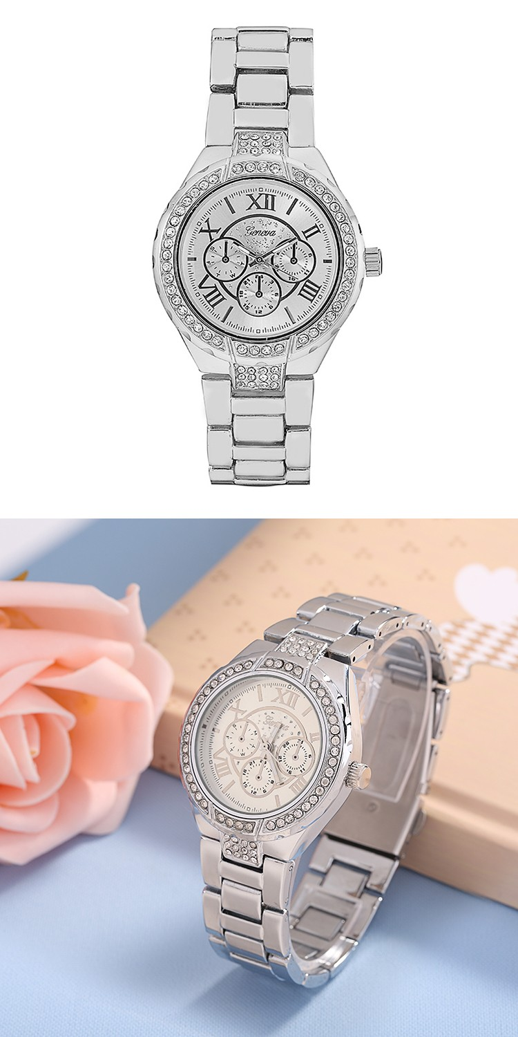 brand new fashion geneva watches women fashion casual roman numerals crystal dial ladies elegance bracelet quartz analog watch