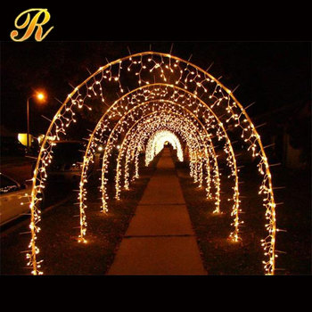 Metal frame ornament with led string light for decoration