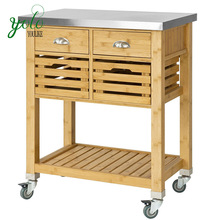 Bamboo Kitchen Storage Trolley with stainless steel worktop
