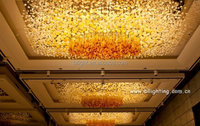 Hotel lobby crystal prisms chandelier lamps in china