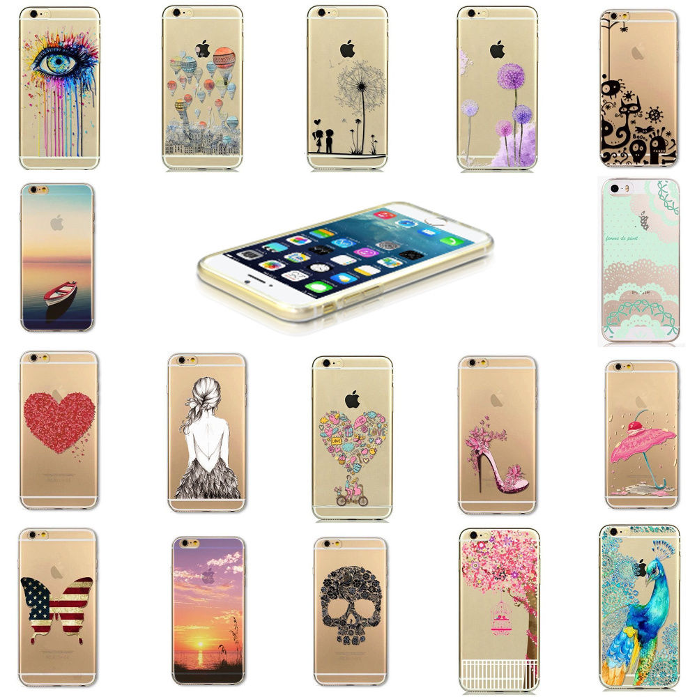 2D DIY Submilation Transparent Silicon Phone Case, Printed TPU Crystal Phone Case Cover For Iphone 6/6S