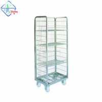 Wire Mesh Three Sides with Wire Deck Picking Cart Type Roll Containers
