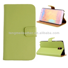 Sleeping function with card pocket leather cases for samsung Galaxy note 3,green wallet case for samsung Galaxy note 3