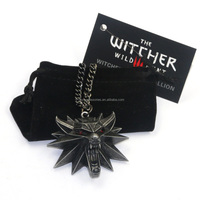 2016 Hot Selling Game Jewelry Witcher 3 Wild Wolf Head Necklace For Men