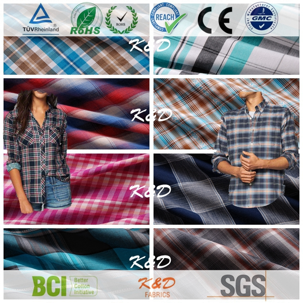 cotton plain gingham check plaid fabrics from china suppiler for shirts school uniform