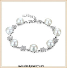 allibaba com new products 2016 delicate sterling silver pearl bracelet ,925 silver charms chain wholesale from China supplier