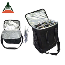Outdoor Travel Picnic Insulated Wine Beer Carryier 6 Bottles Cooler Bag With 6 Compartments