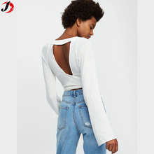 Alibaba Most Popular Sexy Crossed Top With Bell Sleeve For Women