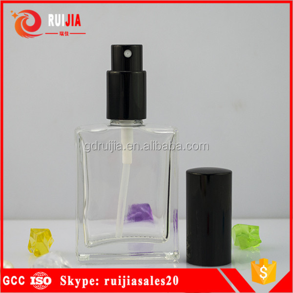 Hot sales square rectangle glass 30ml perfume bottles with spray caps