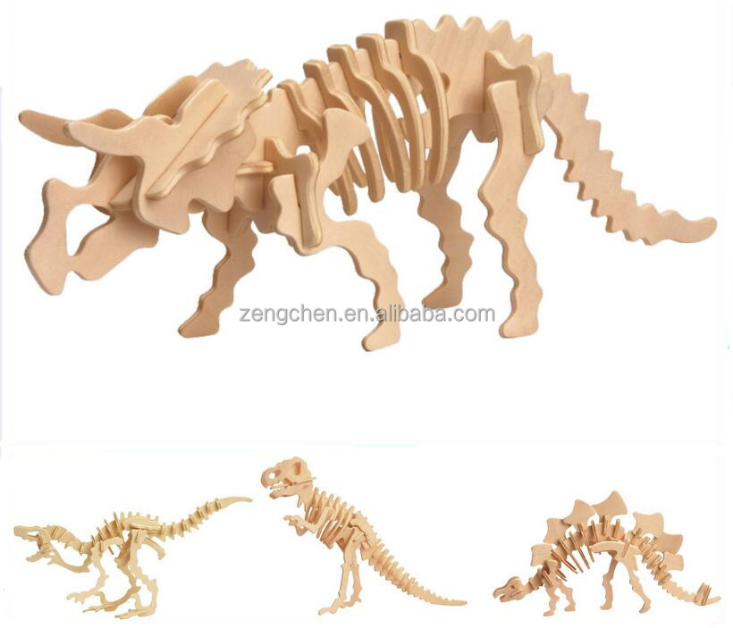 DIY 3d Wooden Dinosaur Puzzle For Promotion,Triceratops Puzzle