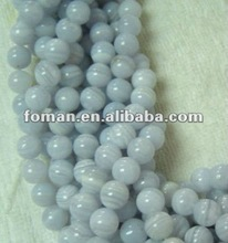 8mm round natural loose beads smooth blue lace agate