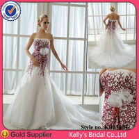 hot sale sew laber for free advanced embroidery black white red wedding dresses