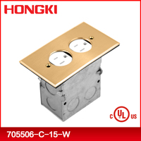 UL approval floor electric outlet box rectangular -brass recessed floor cover flip lid assembly with TR 20A receptacle