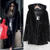 New Women Winter Fashion Warm Faux Fur Hooded Jacket Coat Outwear Long Sleeve