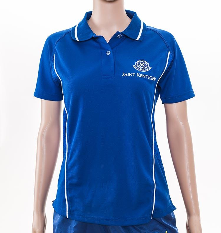 Customized logo blue racing women polo shirt with