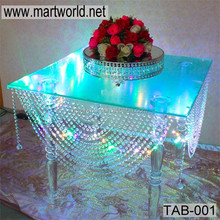 Latest acrylic table with LED Light,crystal acrylic table for wedding cake stands,acrylic wedding table decoration (TAB-001)