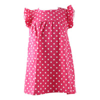 2016 Latest dress design wholesale summer baby dress hot pink dots lovely child boutique flutter sleeve dresses for girls