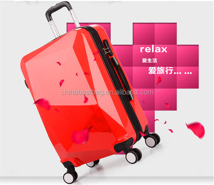 ABS PC fashion travel luggage with 360 degree wheels
